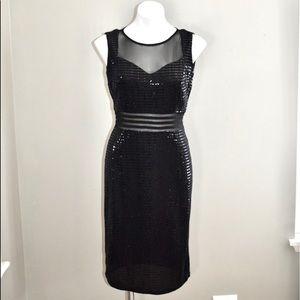 Enfocus black sparkly midi sleeveless dress size 8